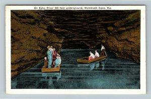 Mammoth Cave, KY-Kentucky, Echo River, Oar Boats, Vintage Postcard