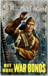 Vintage World War II Poster Style Art Postcard BUY MORE WAR BONDS 1943 Cancel