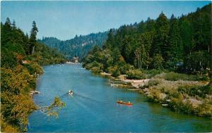 Russian River California boating canoes Postcard