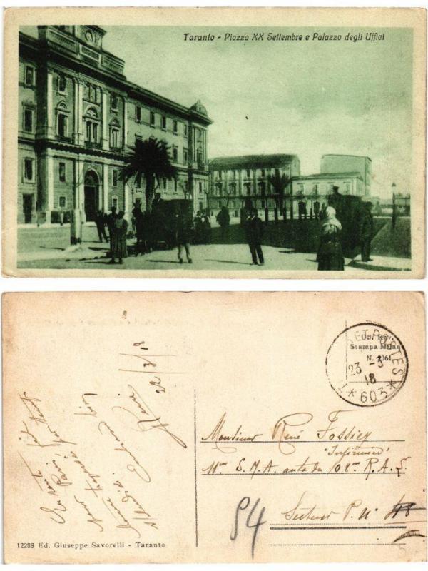 CPA AK TARANTO Piazza XX Setembre e Palazzo degli Uffici. ITALY (531499)