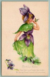 M Dulk~Fantasy Flower Girl in Purple Violets Hat & Dress~Gibson Art Lines~c1916