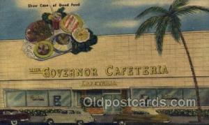 Miami Beach Florida USA Linen Postcard The Governor Cafeteria  Old Vintage An...
