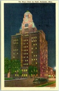 1949 Rochester, Minnesota Postcard The Mayo Clinic by Night Curteich Linen
