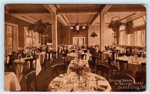 SANTA CRUZ, California CA ~ Dining Room ST. GEORGE HOTEL 1912 Postcard