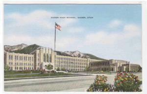 Ogden High School Utah linen postcard