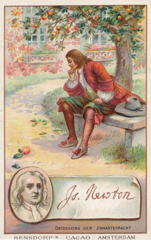 Isaac Newton Scientist Printed Signed Bendorps Cocoa Postcard Antique Trade Card