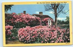 Chatham Cape Cod Massachusetts MA The Rose Cottage Vintage Linen Postcard A3