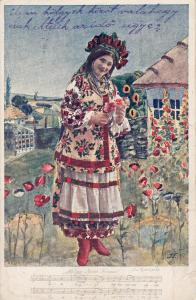Eastern Europe woman folk costume music lied poppy flowers Worl War I 1917