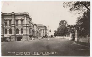 Sri Lanka / Ceylon; Queens St, GPO, &Queens House, Colombo RP PPC, c 1930's