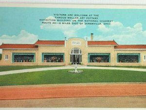 Vintage Postcard Weller Art Pottery National Highway Route 40 Zanesville Ohio OH