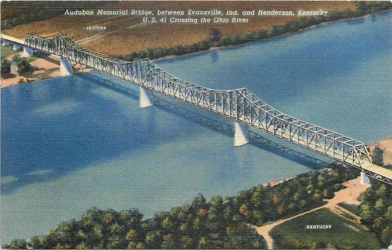 Henderson Kentucky-Evansville IN~Audubon Memorial Bridge~Crosses Ohio River~1949