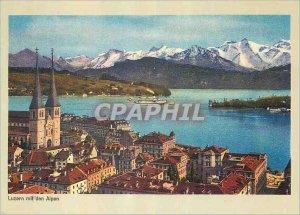 Modern Postcard Luzern mit Alpen