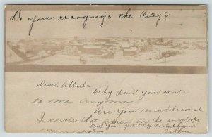 McIntosh Minnesota~Do You Recognize This City?~Birdseye View~1905 Sepia RPPC UDB