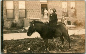 Vintage 1910s RPPC Real Photo Postcard Young Lady on Pony / House View - Unused