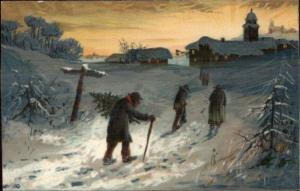 Christmas - Men Walking in Snow Village in Distance c1910 PFB Postcard