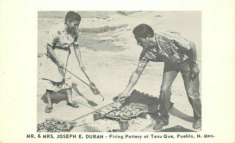 Duran Firing Pottery Tesu Que Pueblo New Mexico National Press Postcard 21-4153
