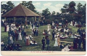 Crescent Park,  Rhode Island,  Early View of People Gathering on the lawn
