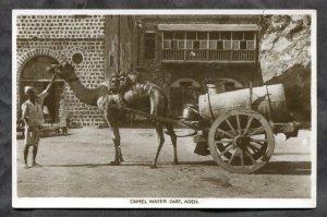 dc1122 - ADEN Yemen 1930s Camel Water Cart. Vendor. Real Photo Postcard