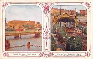 Sweden Old Vintage Antique Post Card Royal Palace Stockholm Writing on back