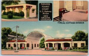 New Orleans, LA Postcard PARADISE TOURIST COURT Route 90 Roadside Linen 1945