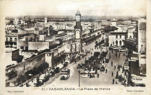 Morocco Casablanca - La Place de France Real Photo Postcard
