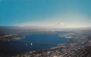 LAKE WASHINGTON FLOATING BRIDGE, MOUNT RAINIER, unused Postcard