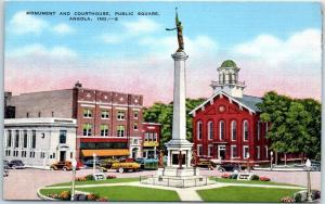 Angola, Indiana Postcard Monument & Court House, Public Square Kropp Linen