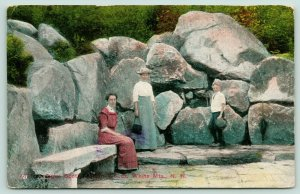 Bretton Woods New Hampshire~White Mountains~Ladies with Boy @ Large Rocks~c1910
