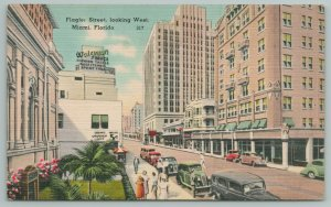 Miami Florida~Flagler St With Envy-Inducing Low Fruit Prices~Vintage Postcard
