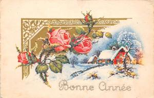 Bonne Annee! Happy New Year! Winter, Village, Roses