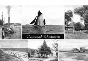 Ostseebad Dierhagen Harbour Boats Cottage Beach Park Postcard