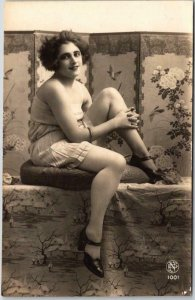 Vintage European Pin-Up Girl RPPC Real Photo Postcard Lingerie Underwear Unused