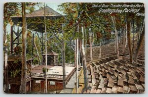 Portland Maine~Riverton Park Outdoor Theatre~Seating Among Trees~Empty Stage~'06