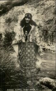 Maori Guide Woman Guide Rangi New Zealand Iles Real Photo Postcard