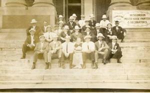 WI - Milwaukee. Canton degree team, Canton Lodge #233, L.O.O.M. on steps of a...