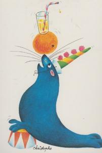 Sea Sealion Seal Getting Drunk Clown Party Hat French Cute Animal Comic Postcard