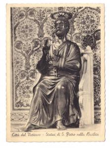Vatican Statue St. Peter Photo Lithograph 1938 Brunner 4X6