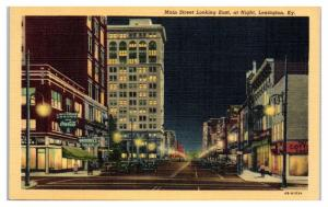 1946 Main Street looking East at Night, Lexington, KY Postcard
