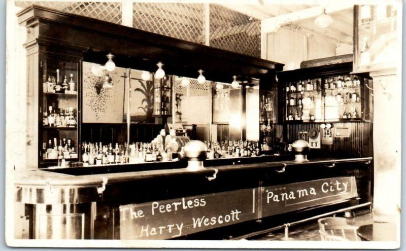 Panama City, Florida RPPC Postcard THE PEERLESS HARRY WESCOTT Bar View c1930s