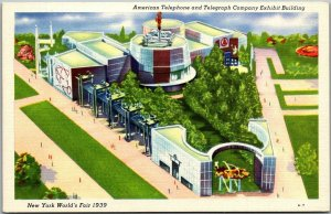 1939 NEW YORK WORLD'S FAIR Linen Postcard AT&T Company Exhibit Building