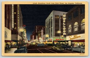 Los Angeles~Broadway Neon Night Lights~Swelldom Clothing~Silverwoods~1947 Linen