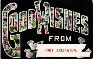 Good Wishes from Port Arlington Postcard F4 *as is