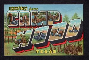 TX Greetings From Camp Hood Army Base Killeen TEXAS Large Letter Postcard Linen