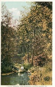 Pocono Manor PA~Detroit Publishing Co~Phostint~A Quiet Corner~Lake Minausin~1907