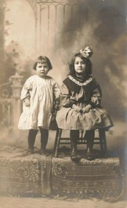 Arenzville IL Studio Photo Two Young Girls Real Photo postcard