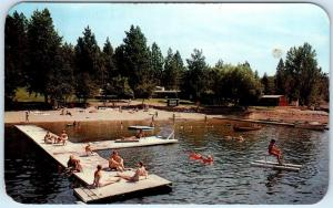 TWIN LAKES, Idaho  ID   Roadside  TWIN ECHO RESORT   Beach Scene  1963  Postcard