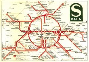 Berlin Germany Postcard Map Plan S-Bahn Railway Network from 1931 #387