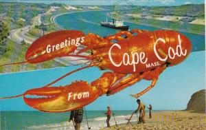 Massachusetts Cape Cod Greetings From With Giant Lobster 1960
