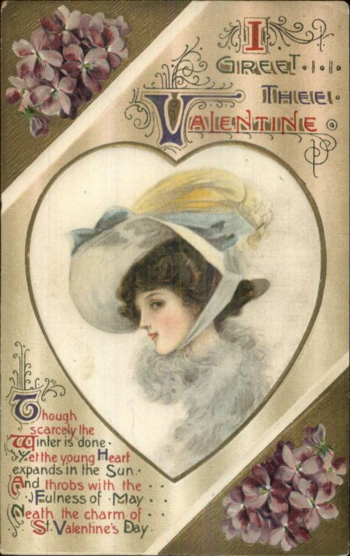 Valentine - Beautiful Woman Winsch Schmucker SILK c1910 Postcard