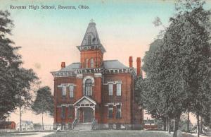 Ravenna Ohio High School Street View Antique Postcard K45660